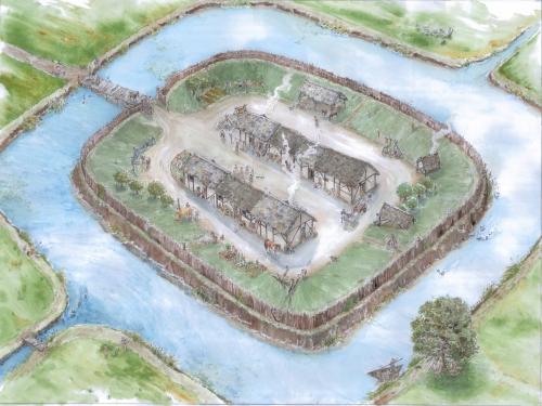 Ricostruzione del castrum tra X e XIII secolo. Disegno di Rita Bellesia