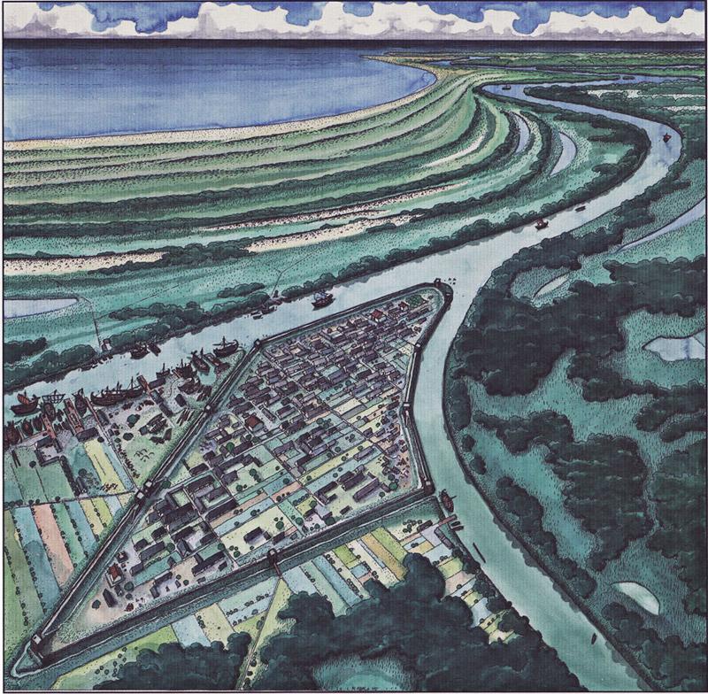 Ricostruzione grafica dell'antica città di Spina